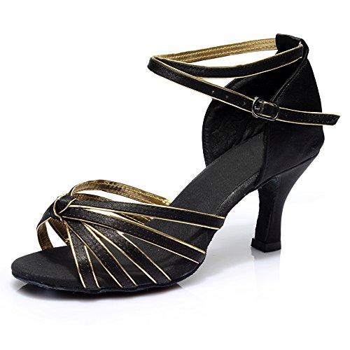 Salsa Latine Souliers De Danse Soie Chaussures Latins Noires En qp6fTn