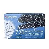 The Christmas Workshop 720 LED Bright Chaser Cluster String Lights, White