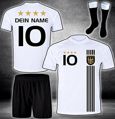 ElevenSports Deutschland Trikot + Hose + Stutzen mit GRATIS Wunschname + Nummer + Wappen Typ #D 2017 im EM/WM Weiss - Geschenke für Kinder,Jungen,Baby. Fußball T-Shirt personalisiert