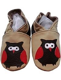"""""""Coucou Hibou"""" de BBKDOM- Chaussons bébé et enfant en cuir souple de qualité supérieure Fabrication Européenne de 0-5 ans"""