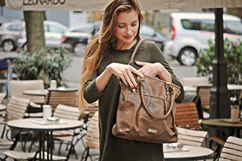 MASQUENADA, borsa da donna, Borsa da shopping, Borsa a mano, Borsa con manico, 40 x 32 x 11,5 cm taupe