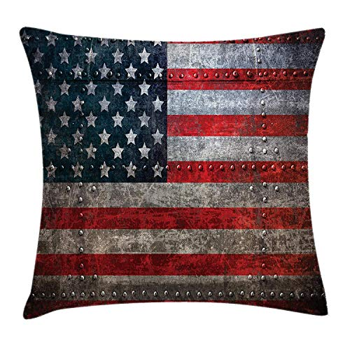 Royalty Velour (VVIANS American Flag Throw Pillow Cushion Cover, Royalty Flag Textured US Backdrop on Damaged Board Plate Design Artwork Print, Decorative Square Accent Pillow Case, 18 X 18 Inches, Red Grey)