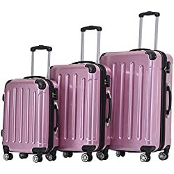 Beibye Ensemble de 3 valises rigides à roulettes Formats XL/L/cabine(rose)
