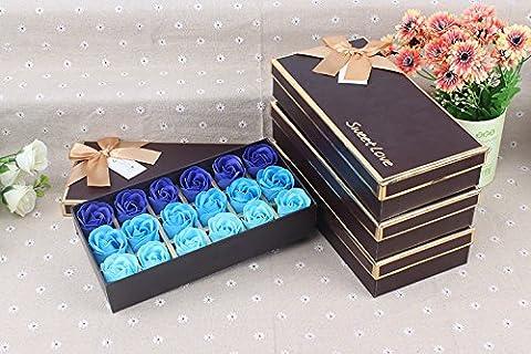 FunRun 18 Stücke Rosen-Duftseifen in Geschenk-Box, Konservierte Rosenduft Steigung-Farben-Badeseife Rose in Geschenkbox Bestes Geburtstags-Valentinstag-Geschenk (Elegante Rosen-seife)