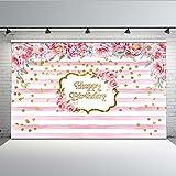 Mehofoto Geburtstag Kulisse 7 x 5 ft rosa und weißen Streifen Blumen Foto Kulissen nahtlose Baby Dusche Fotografie Hintergrund