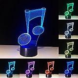 7 Changement de Couleur LED Lampe 3D Musique Note Nuit Lumière Musical Note...
