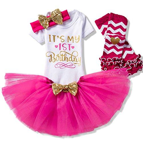 NNJXD Mädchen Neugeborene Es ist mein 1. Geburtstag 4 Stück Outfits Strampler + Rock + Stirnband (+ Leggings) Größe (1) Rose(1 Jahre) (Geburtstag Kleid Ersten)