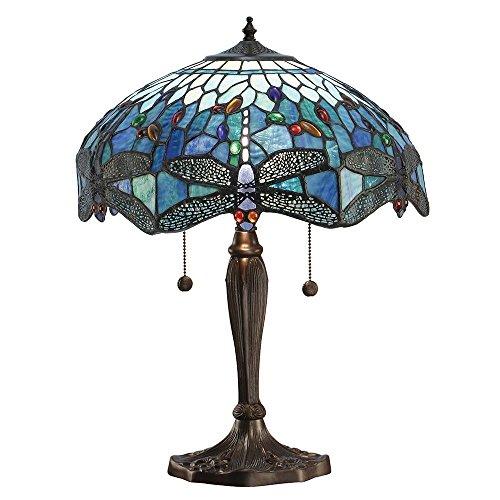 Dragonfly Medium Tiffany Stil Blaue Tischlampe - Interiors 1900 64089 - Bronze Tiffany Tischlampen