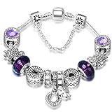 ATE Charm Armband mit Sicherheitskette Beads Armkette Damen Geschenk (Lila)