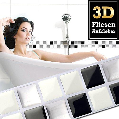 Wandora 7 Stück 25,3 x 3,7 cm Fliesenaufkleber schwarz weiß Silber I Selbstklebende 3D Mosaik Fliesen Küche Bad Fliesendekor Fliesenfolie...