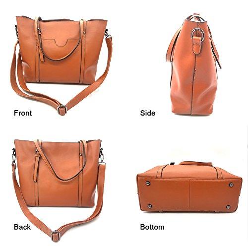 Sacchetti di cuoio genuini di Yoome per le donne Top Handle Borse della cartella della cartella grande borsa delle signore - grigio Marrone