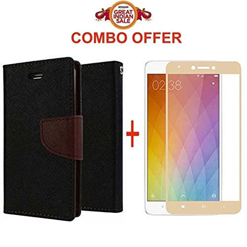 GOELECTRO Xiaomi Redmi Note 4 / mi redmi note 4 / Redmi Note 4 (COMBO OFFER) Flip Cover Case Wallet Style ( Black:Brown ) + 2.5D curved 3D Edge to Edge Tempered Glass Mobile Screen Protector , Gold