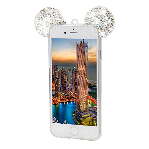 Glitter Custodia per iPhone 7 Plus Cover Rigida,Girlyard Copertura Rigida 3D Brillante Strass Bling Glitter Colorata Stella Resistente Duro Antiurto per Apple iPhone 7 Plus 5.5 con 360 gradi Rotazione Orecchios Argento