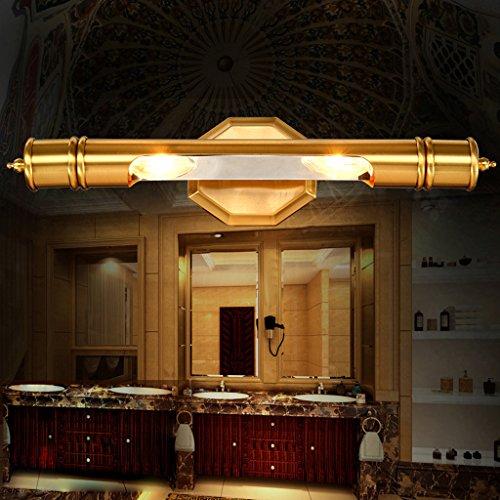 Plein miroir de bronze feux avant salle de bain lampe miroir front européen miroir lumineux imperméable à l'eau la rouille américaine (grand)