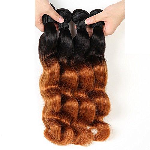 (Longwei Wirklich Haar Vorhang Locken Glatte Brasilien Menschliches Haar Gradienten Haar Behalf Echte Perücke Kopf Pick up Shun Fat Closure 10 Größe (Color : Gradient, Size : 14))