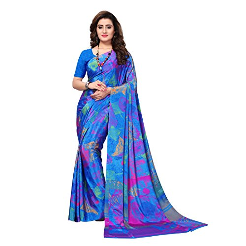 Kanchnar Women's Blue Crepe Printed Saree (715S1026)