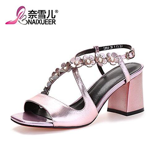 fan4zame Frauen Stöckelschuh Fashion Sandalen Schuhe beständig slipers Cool angenehm atmungsaktiv Sandalen 35 Pink