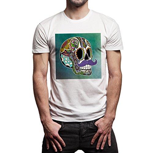 Skull Mosaic Background Herren T-Shirt Weiß