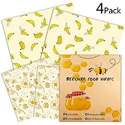 Emballage Alimentaire Réutilisable de Cire d'abeille | Bee's Trend | Bees Wrap | Film Alimentaire Ecologique Lavable pour Conserver Vos Aliments | Lot de 4 : 2xM, 2XL | Deux modèles | Zéro déchet7