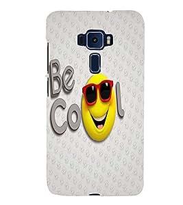 PrintVisa Cute Cartoon Cool Smiley 3D Hard Polycarbonate Designer Back Case Cover for ASUS ZENFONE 3 ZE552KL