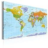 decomonkey | 120x80 cm Politische Weltkarte Deutsch | Pinnwand | Leinwand Bilder | Wandbilder | Landkarte Welt Kontinente Reise Geographie