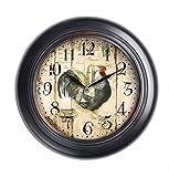 Retro Wanduhr Vintage wetterfest Metall schwarz beige Uhr Retro Vintage Style 32 cm - wunderschöne Wanduhr im Vintage Stil - Lieferung erfolgt inkl. Montagematerial und Batterie - mit batteriebetriebenem Quartz-Uhrwerk - TWC Warenhandel Plus Garden Clocks (New Hampshire 32 cm (28))