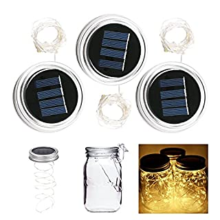 ALED LIGHT 3-Pack Solar Mason Jar Light Warm White 2 Meter 20 LED Lampen Silber Wire Fairy Deckel Licht für Glas Mason Jar Hängen Laterne Licht Garten Patio Dekorative Beleuchtung