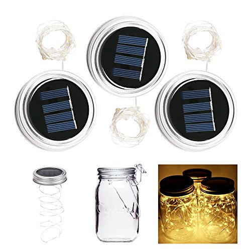 ALED LIGHT 3-Pack Solar Mason Jar Light Warm White 2 Meter 20 LED Lampen Silber Wire Fairy Deckel Licht für Glas Mason Jar Hängen Laterne Licht Garten Patio Dekorative Beleuchtung (Mason Jar Lampe)
