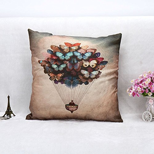 JeremyArtStore 18 x 18 Inches Decorative Cotton Linen Square Throw Pillow case/Kissenbezüge Cushion Cover Butterfly hot air balloon Design (Hot Balloon Air Butterfly)