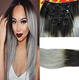 SHINING STYLE 20''(50cm) Clip in/on Extensions Echthaar 7 Haarteil 70g Remy Gerade Haarverlangerung Menschliches Haar #1B/Grau