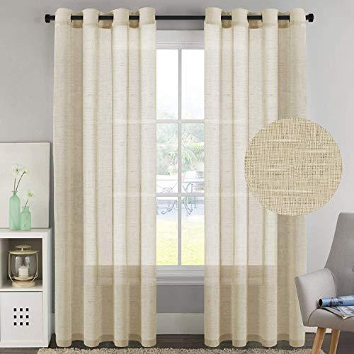 H. versailtex Ultimate Natürliche Wirkung Vorhänge aus Leinen halbtransparenter, Nickel Tülle Fenster Vorhang Panels für Wohnzimmer/Schlafzimmer (Set of 2), Textil, beige, 52