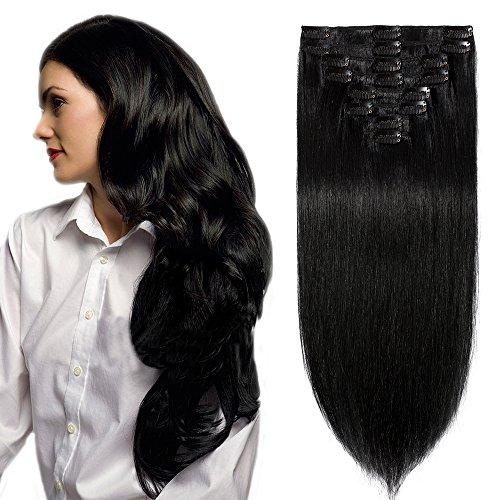 [8 Bandes à 18 Clips] Extensions à Clip Cheveux Naturels Cheveux Tombent/S'emmêlent Pas (16\\