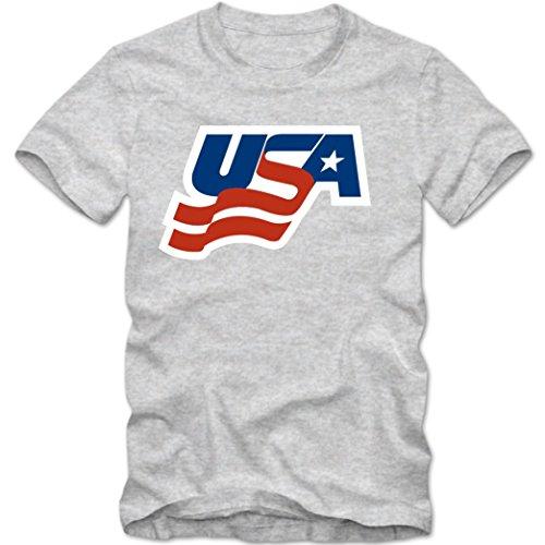 USA Ice Hockey T-Shirt |Eishockey WM | USA Hockey |Shirt © Shirt Happenz graumeliert (grey melange) 01