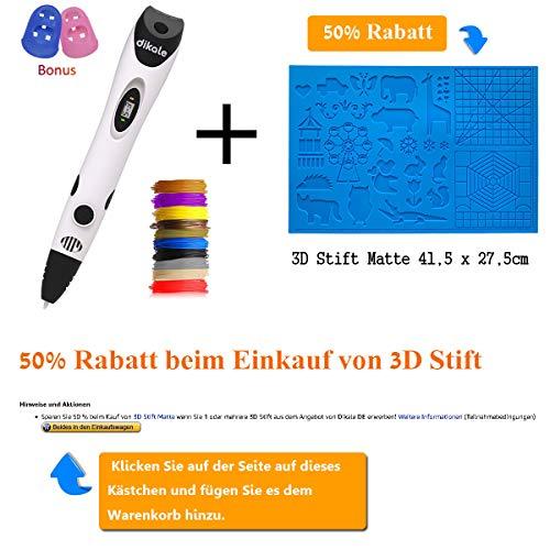3D Stift Set für Kinder mit PLA Filament 12 Farben -【Neueste Version 2018】3D Stifte mit PLA Farben 120 Fuß und 250 Schablonen eBook, Dikale 07A 3D Pen als kreatives Geschenk für Erwachsene, Bastler zu kritzeleien, basteln, malen und 3D drücken - 3