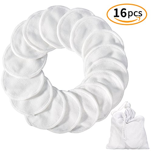 Reusable Make up Remover Pads 16 Packs, Washable Bamboo Cotton Pad with Laundry Bag