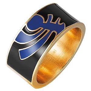 Pierre Cardin Unisex-Ring 925 Sterling Silber Edelstahl rhodiniert Kunststoff Totem