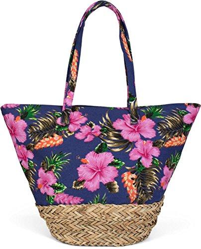 Bast-shopper (styleBREAKER Strandtasche mit buntem Hibiskus Blüten Print, Bast am Boden und Reißverschluss, Schultertasche, Shopper, Damen 02012233, Farbe:Dunkelblau)