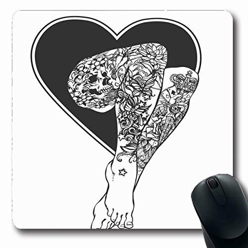 Mousepads Flash Sexy Tätowierte Barfuß Beine Weiß Zeichnung für Tattoo Retro Verzierte Herzen Schädel Rosen Blumen Längliche Form rutschfeste Gaming Mauspad Gummi Längliche Matte,Gummimatte 11,8