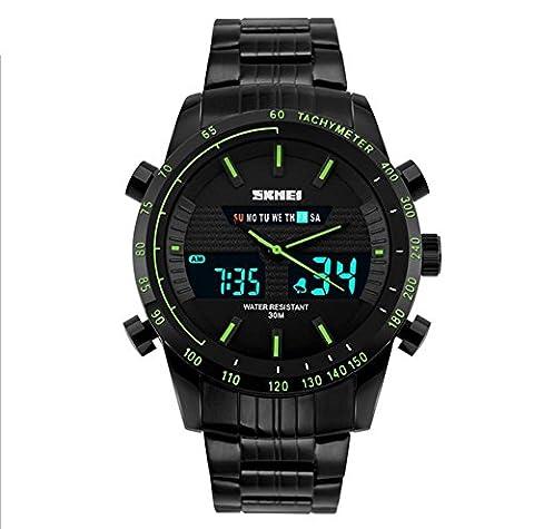 BIAOSHOU® Regarder Hommes D'Affaires Gmt Horloge Alarme Calendrier Double Quartz Sports De Plein Air Imperméables Montres Électroniques ,