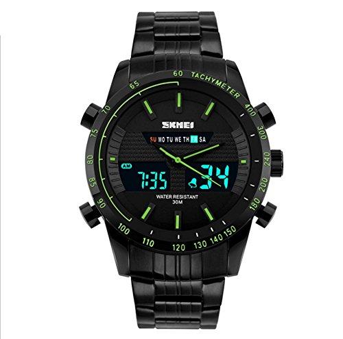 BIAOSHOU® Uhr Business Herren Gmt Wecker Kalender Chronograph Dual Quarz Im Freien Sport Wasserdichte Elektronische Uhren , Green