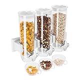 Royal Catering - Müslispender Cerealienspender (3 x 1,5 L Fassungsvermögen, 3 Behälter, Ausguss, 3 Schälchen, Behälterhalterung) Durchsichtig