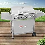 Broil-master BBQ Gasgrill | Edelstahl Deckel, Grillstation mit 6 Brenner | Grillfläche 70,5 x 35,5 cm | Farbe: Silber