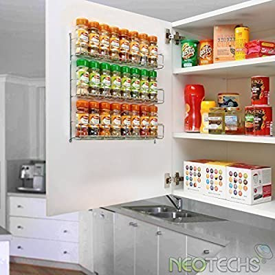 Neotechs® 24pc Chrome 3 Tier Spice Rack Jar Holder for Wall or Kitchen Cupboard from Neotechs®
