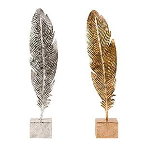 Lifestyle & More Moderne Feder Skulptur auf einem Sockel aus Metall in Silber oder Bronze Höhe 48 cm