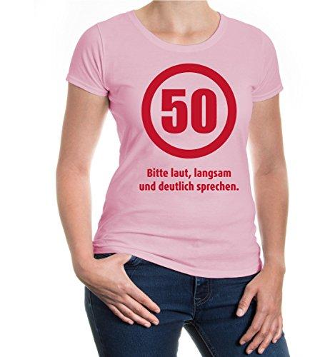 buXsbaum® Girlie T-Shirt 50 Bitte laut, langsam und deutlich sprechen Lightpink-Bordeaux