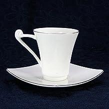 AJUNR-Simple Y Exquisito Borde De Plata Cerámica Taza De Café Taza De Café De