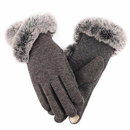 Handschuhe Damen Longra Luxuriöse Frauen Mädchen PU Leder Handschuhe Winter Warm Driving Soft Futter Handschuhe mit Künstlich Pelz (Kostüm Team Alpha)