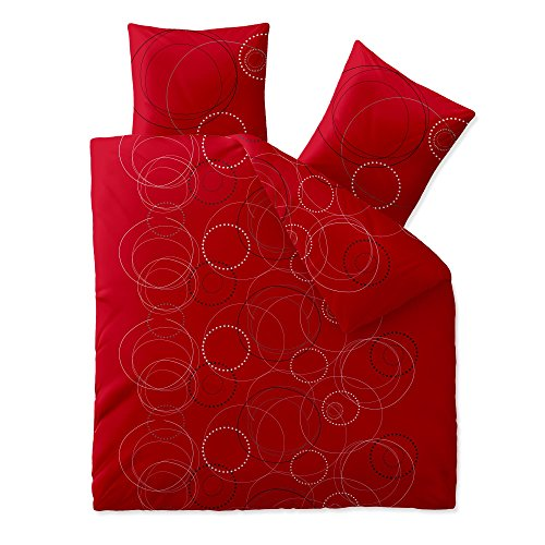 aqua-textil Trend Bettwäsche 200 x 220 cm 3-teilig Bettbezug Baumwolle Chara Kreise Punkte weiß rot grau 0011747 - Rot Bettbezug
