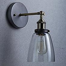 Lightess Apliques de Pared Lámpara Vintage Lámpara Industrial Apliques con Pantalla Lámpara de Pared Elegante Luz Lámpara Retra Lámpara de Estilo Rústico, Blanco Cálido