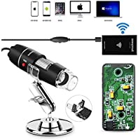 Wifi USB Microscope 1000x Digital Handheld Microscope Wifi Endoscope 8 LED with 2 in 1 Micro USB Support for Android Smartphone, iPhone, Tablet, Widows by DigiHero